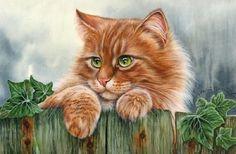 cat art on fence
